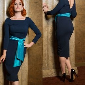 Pinup Couture Blue Dress with sash